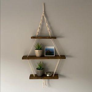 Macrame 3 tier hanging wooden shelf